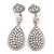 Swarovski Crystal Teardrop Earrings In Silver Plating - 7cm Length - view 2