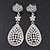 Swarovski Crystal Teardrop Earrings In Silver Plating - 7cm Length