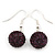 Deep Purple Crystal Ball Drop Earrings In Silver Plated Finish - 12mm Diameter/ 3cm Length