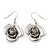 Silver Plated 'Rose' Drop Earrings - 4cm Length