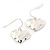 Small Hammered 'Heart' Drop Earrings In Silver Plating - 2cm Length - view 5