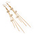 Long Tassel With Crystal Bow Earrings In Gold Plated Metal - 15cm Length