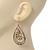 Gold Plated Crystal Filigree Teardrop Earrings - 6.5cm Length - view 5
