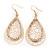 Gold Plated Crystal Filigree Teardrop Earrings - 6.5cm Length - view 3