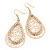 Gold Plated Crystal Filigree Teardrop Earrings - 6.5cm Length - view 7