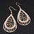 Gold Plated Crystal Filigree Teardrop Earrings - 6.5cm Length - view 8