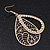Gold Plated Crystal Filigree Teardrop Earrings - 6.5cm Length - view 2