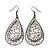 Gun Metal Crystal Filigree Teardrop Earrings - 6.5cm Length