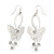 Silver Plated Filigree Diamante 'Butterfly' Drop Earrings - 7cm Length - view 6