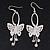 Silver Plated Filigree Diamante 'Butterfly' Drop Earrings - 7cm Length