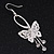 Silver Plated Filigree Diamante 'Butterfly' Drop Earrings - 7cm Length - view 2