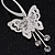 Silver Plated Filigree Diamante 'Butterfly' Drop Earrings - 7cm Length - view 3