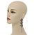 Long Black Floral Filigree Drop Earrings - 12.5cm Length - view 5