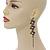 Long Black Floral Filigree Drop Earrings - 12.5cm Length - view 2