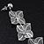 Long Silver Tone Floral Filigree Drop Earrings - 12.5cm Length - view 5