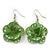 3D Lemon Green Diamante 'Rose' Drop Earrings In Silver Plating - 5cm Length