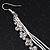 Long Silver Plated Clear Diamante 'Tassel' Drop Earrings - 11cm Length - view 5
