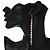 Long Gold Plated Clear Diamante 'Tassel' Drop Earrings - 11cm Length - view 3