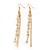 Long Gold Plated Clear Diamante 'Tassel' Drop Earrings - 11cm Length - view 10