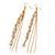 Long Gold Plated Clear Diamante 'Tassel' Drop Earrings - 11cm Length - view 8