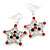 Red/Green/White Crystal 'Christmas Star' Drop Earrings In Silver Plating - 5cm Length - view 6
