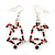 Green/Red/White Christmas Crystal Jingle Bell Drop Earrings In Silver Plating - 5.5cm Length