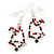 Green/Red/White Christmas Crystal Jingle Bell Drop Earrings In Silver Plating - 5.5cm Length - view 6