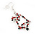Green/Red/White Christmas Crystal Jingle Bell Drop Earrings In Silver Plating - 5.5cm Length - view 2