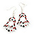 Red/Green/White Christmas Crystal Jingle Bell Drop Earrings In Silver Plating - 5.5cm Length - view 6