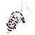 Green/Red/White Crystal 'Santa' Christmas Drop Earrings In Silver Plating - 6cm Drop - view 3