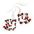 Funky Red/Green/Clear Diamante 'Christmas Stocking' Drop Earrings In Silver Plating - 4.5cm Length - view 5
