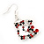 Funky Red/Green/Clear Diamante 'Christmas Stocking' Drop Earrings In Silver Plating - 4.5cm Length - view 3