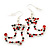 Red/Green/Clear Diamante 'Christmas Stocking' Drop Earrings In Silver Plating - 5cm Length - view 5