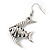 Burn Silver Hammered 'Fish' Drop Earrings - 4.5cm Length - view 2