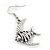 Burn Silver Hammered 'Fish' Drop Earrings - 4.5cm Length - view 4