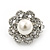 Classic Diamante Simulated Pearl Clip On Earrings In Silver Plating - 17mm Diameter - view 5