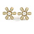 Cream Enamel Simulated Pearl Flower Stud Earrings In Gold Plating - 2cm D