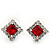 Red/Clear Crystal Square Stud Earrings In Silver Plating - 15mm Diameter - view 3