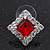 Red/Clear Crystal Square Stud Earrings In Silver Plating - 15mm Diameter - view 2