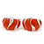 C-Shape Orange Enamel Diamante Clip-On Earrings In Rhodium Plating - 18mm Length - view 6