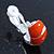 C-Shape Orange Enamel Diamante Clip-On Earrings In Rhodium Plating - 18mm Length - view 5