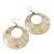 Gold/Metallic Silver Cut-Out Floral Hoop Earrings - 6cm Length