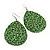 Long Green 'Animal Print' Teardrop Metal Earrings - 6.5cm Length