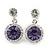 Round Amethyst/Clear Crystal Stud Earring In Silver Metal - 2.5cm Drop