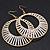 Long White Glass Bead Wire Hoop Earrings In Gold Plating - 8cm Length