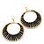 Long Black Glass Bead Wire Hoop Earrings In Gold Plating - 8cm Length