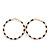Twisted Gold Black Enamel Hoop Earrings - 6cm Diameter - view 6