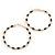 Twisted Gold Black Enamel Hoop Earrings - 6cm Diameter - view 7