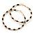 Twisted Gold Black Enamel Hoop Earrings - 6cm Diameter - view 2