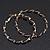 Twisted Gold Black Enamel Hoop Earrings - 6cm Diameter - view 5